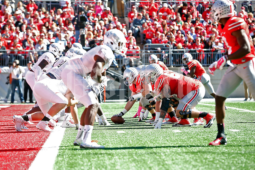 Ohio State Buckeyes offensive lineman Jacoby Boren (50) and the offensive line against the Maryland Terrapins defense during the first quarter of their game in Ohio Stadium on October 10, 2015.  (Dispatch photo by Kyle Robertson)