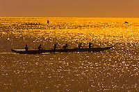 Outrigger canoes, Waialua Bay, off Hale'iwa Beach Park, Hale'iwa, North Shore, Oahu, Hawaii, USA