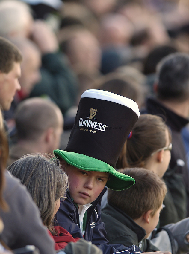 Photo: Jonathan Butler..Leicester Tigers v Bath Rugby. Guinness Premiership. 17/03/2007..Fans at Welford Road get into the St Patricks day spirit by wearing Guinness hats.