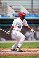 Auburn Doubledays right fielder Daniel Johnson (30) at bat during a game against the Vermont Lake Monsters on July 13, 2016 at Falcon Park in Auburn, New York.  Auburn defeated Vermont 8-4.  (Mike Janes/Four Seam Images)