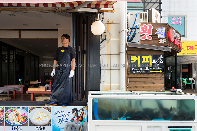 9/5/2013--Busan, South Korea<br /> <br /> A restaurant worker in Mipo Harbor next to Haeundae Beach in Busan (Pusan).<br /> <br /> Photograph by Stuart Isett<br /> &copy;2013 Stuart Isett. All rights reserved.
