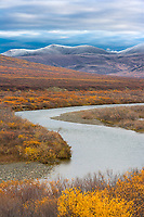 Nome River, first snowfall of the year (termination dust) on the Kigluaik mountains along the Kougarok road, Seward peninsula, western Arctic, Alaska.