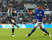1st January 2020; St James Park, Newcastle, Tyne and Wear, England; English Premier League Football, Newcastle United versus Leicester City; Fabian Schar of Newcastle United shot is blocked by Christian Fuchs of Leicester City - Strictly Editorial Use Only. No use with unauthorized audio, video, data, fixture lists, club/league logos or 'live' services. Online in-match use limited to 120 images, no video emulation. No use in betting, games or single club/league/player publications