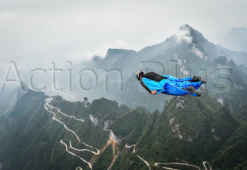 13.10.2016. Zhangjiajie, Hunan Province, China.  Carsen Klein of the United States glides during the qualification of World Wingsuit League (WWL) China Grand Prix 2016 in Zhangjiajie,   Hunan Province, Oct. 13, 2016. Only ten of the total sixteen fliers took part in the competition due to the weather on Thursday.