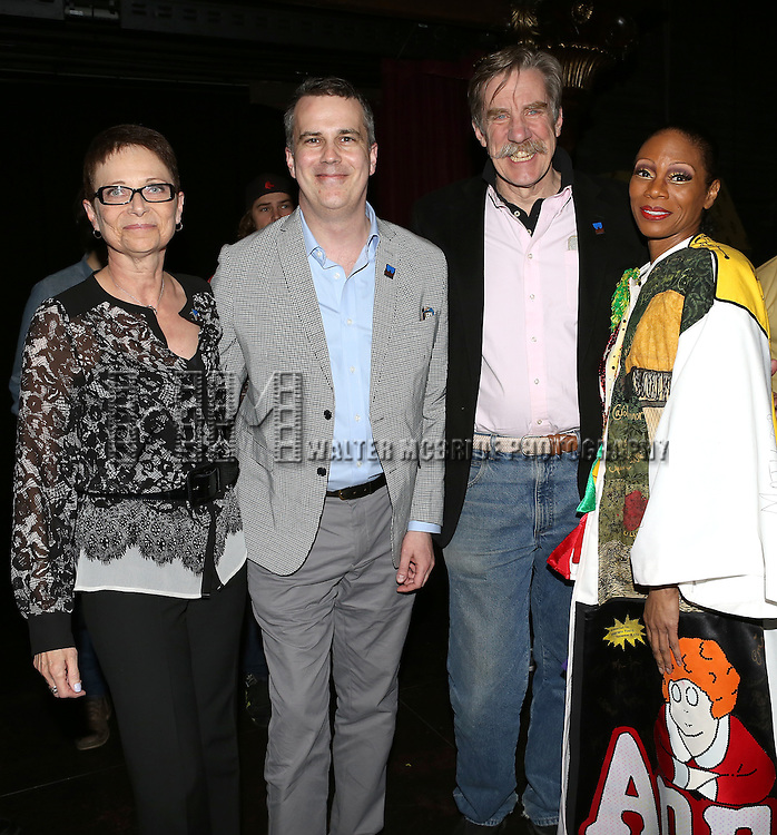 Stephanie Pope with Executive Director of AEA Mary McColl, AEA Eastern Regional Director Thomas & Carpenter & AEA President Nick Wyman attending the Broadway Opening Night Gypsy Robe Ceremony honoring Stephanie Pope for 'Pippin' at the Music Box Theatre in New York City on 4/25/2013