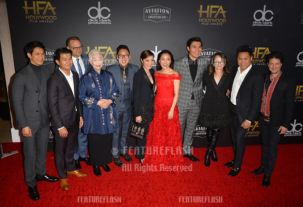 """LOS ANGELES, CA. November 04, 2018: """"Crazy Rich Asians"""" stars Harry Shum Jr., Ronny Chieng, Bradford Simpson, Lisa Lu, Nico Santos, Michelle Yeoh, Constance Wu, Henry Golding, Nina Jacobson, Jon M. Chu & John Penotti  at the 22nd Annual Hollywood Film Awards at the Beverly Hilton Hotel.<br /> Picture: Paul Smith/Featureflash"""