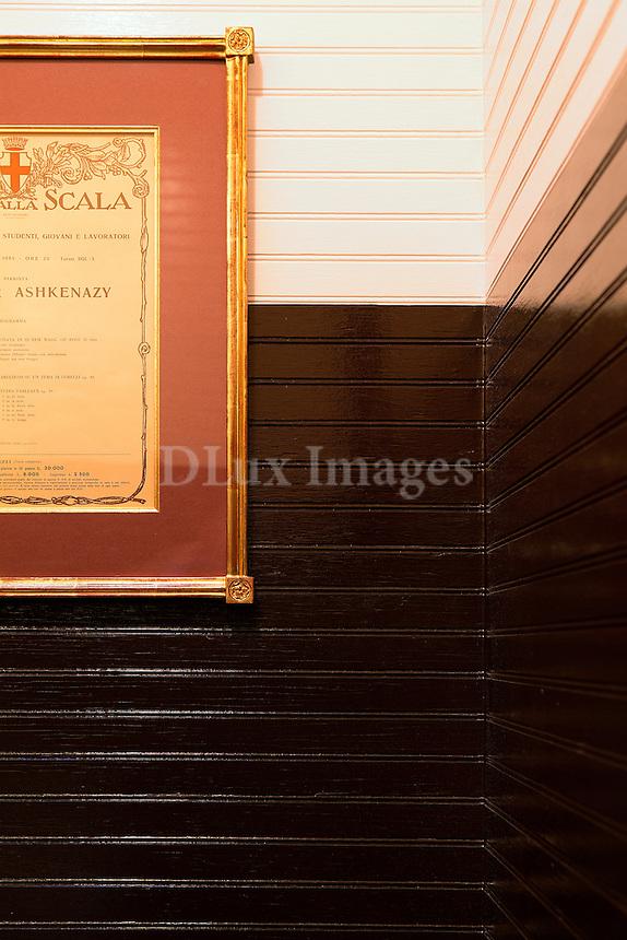 brown wall paneling Sant Ambroeus Soho