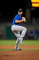 Rancho Cucamonga Quakes relief pitcher Logan Salow (49) delivers a pitch during a California League game against the Stockton Ports at Banner Island Ballpark on May 16, 2018 in Stockton, California. Rancho Cucamonga defeated Stockton 6-3. (Zachary Lucy/Four Seam Images)