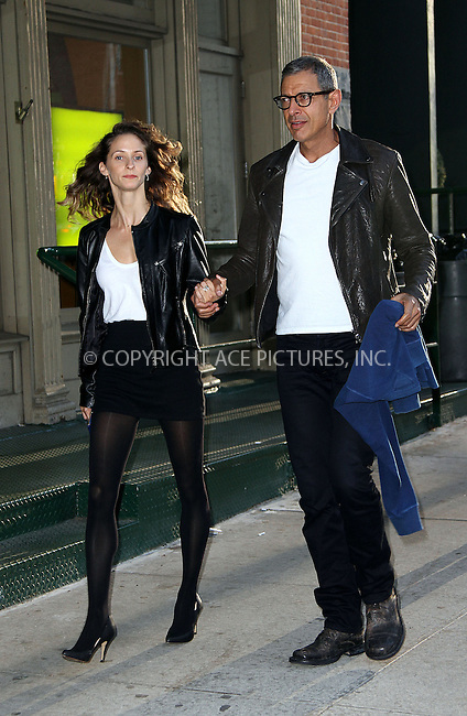 WWW.ACEPIXS.COM......September 11 2012, New York City....Actor Jeff Goldblum strolls in Tribeca with his girlfriend  Emilie Livingston on September 11 2012 in New York City......By Line: Zelig Shaul/ACE Pictures......ACE Pictures, Inc...tel: 646 769 0430..Email: info@acepixs.com..www.acepixs.com