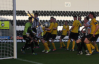 Jordan Holt (2nd left) misses the header in the St Mirren v Falkirk Clydesdale Bank Scottish Premier League Under 20 match played at St Mirren Park, Paisley on 30.4.13.