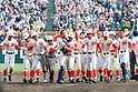 Chiben Gakuen team group,<br /> MARCH 31, 2016 - Baseball :<br /> Chiben Gakuen's captain and catcher Tomoki Okazawa celebrates with his teammates after winning the 88th National High School Baseball Invitational Tournament final game between Takamatsu Shogyo 1-2 Chiben Gakuen at Koshien Stadium in Hyogo, Japan. (Photo by Katsuro Okazawa/AFLO)