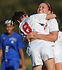 Lauren Borelli #15 of East Islip, right, gives teammate Rachel Florenz #18 a congratulatory hug after she scored a goal with 7:48 remaining in the second half of a Suffolk County Class AA varsity girls soccer first round playoff game against North Babylon at East Islip High School on Monday, Oct. 24, 2016. East Islip won by a score of 1-0.