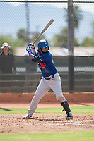 Los Angeles Dodgers infielder Ronny Brito (58) at bat during an Instructional League game against the Milwaukee Brewers at Maryvale Baseball Park on September 24, 2018 in Phoenix, Arizona. (Zachary Lucy/Four Seam Images)