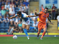 Blackburn Rovers Lewis Travis in action with Cardiff City's Lee Tomlin<br /> <br /> Photographer Mick Walker/CameraSport<br /> <br /> The Premier League - Blackburn Rovers v Cardiff City - Saturday August 24th 2019 - Ewood Park - Blackburn<br /> <br /> World Copyright © 2019 CameraSport. All rights reserved. 43 Linden Ave. Countesthorpe. Leicester. England. LE8 5PG - Tel: +44 (0) 116 277 4147 - admin@camerasport.com - www.camerasport.com