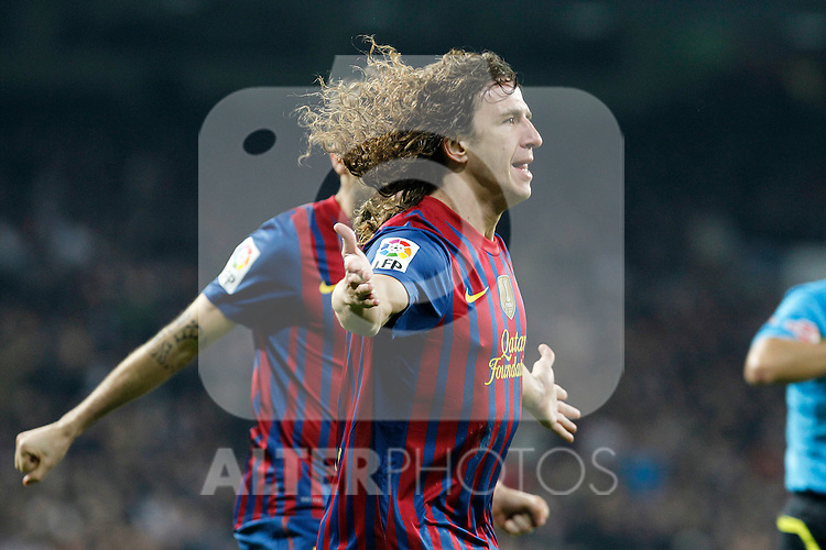 FC Barcelona's Carles Puyol celebrates goal during Spanish King's Cup match.January 18,2011. (ALTERPHOTOS/Acero)
