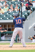 Mike McCoy (10) of the Pawtucket Red Sox at bat against the Charlotte Knights at BB&T Ballpark on August 8, 2014 in Charlotte, North Carolina.  The Red Sox defeated the Knights  11-8.  (Brian Westerholt/Four Seam Images)