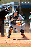 Slippery Rock catcher Ryan LaRose (18) during a game against the Wayne State Warriors on March 15, 2013 at Chain of Lakes Park in Winter Haven, Florida.  (Mike Janes/Four Seam Images)