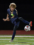 Father McGivney defender D.J. Villhard sends the ball in towards a teammate in a Class 1A sectional semifinal game against Murphysboro at Althoff High School in Belleville on Wednesday October 17, 2018. Villhard later scored for the Griffins at the 21:11 mark of the first half. <br /> Tim Vizer/Special to STLhighschoolsports.com