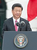 President XI Jinping of China makes remarks during an official State Arrival ceremony on the South Lawn of the White House in Washington, DC on Friday, September 25, 2015.<br /> Credit: Ron Sachs / CNP