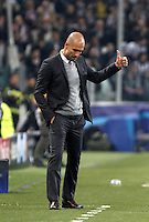 Calcio, andata degli ottavi di finale di Champions League: Juventus vs Bayern Monaco. Torino, Juventus Stadium, 23 febbraio 2016. <br /> Bayern's coach Josep Guardiola gestures during the Champions League round of 16 first leg soccer match between Juventus and Bayern at Turin's Juventus Stadium, 23 February 2016.<br /> UPDATE IMAGES PRESS/Isabella Bonotto