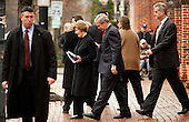 Alexandria, VA - December 21, 2008 -- United States President George W. Bush and wife, Laura, depart Christ Church in Old Town Alexandria, VA following Sunday morning services, December 21, 2008..Credit: Martin H. Simon / Pool via CNP