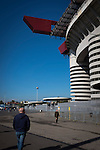 Internazionale 1 Cagliari 2, 16/10/2016. San Siro, Italian Serie A. An exterior view of the Stadio Giuseppe Meazza, also known as the San Siro, before Internazionale took on Cagliari in an Italian Serie A fixture. The match was overshadowed by a huge controversy that as Inter Ultras declared open warfare on captain Mauro Icardi for a chapter in his autobiography, accusing him of lying about an incident in 2015. Inter Milan lost the match 2-1, watched by a crowd of 43,757. Photo by Colin McPherson.