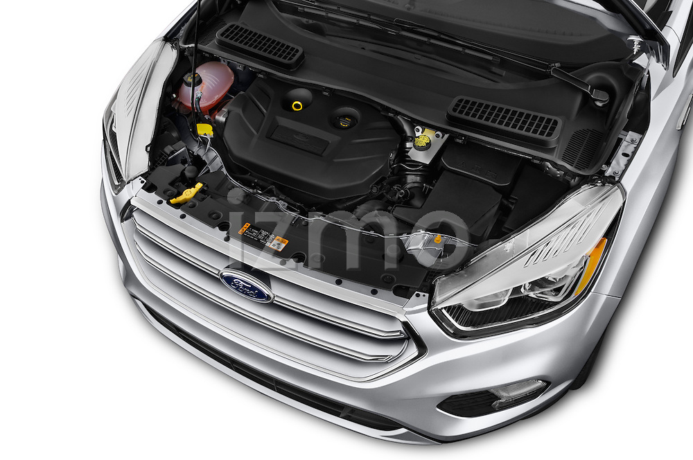 Car Stock 2018 Ford Escape Titanium 5 Door Suv Engine  high angle detail view