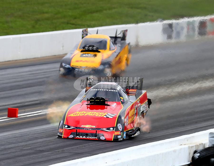 May 21, 2018; Topeka, KS, USA; NHRA funny car driver Courtney Force during the Heartland Nationals at Heartland Motorsports Park. Mandatory Credit: Mark J. Rebilas-USA TODAY Sports