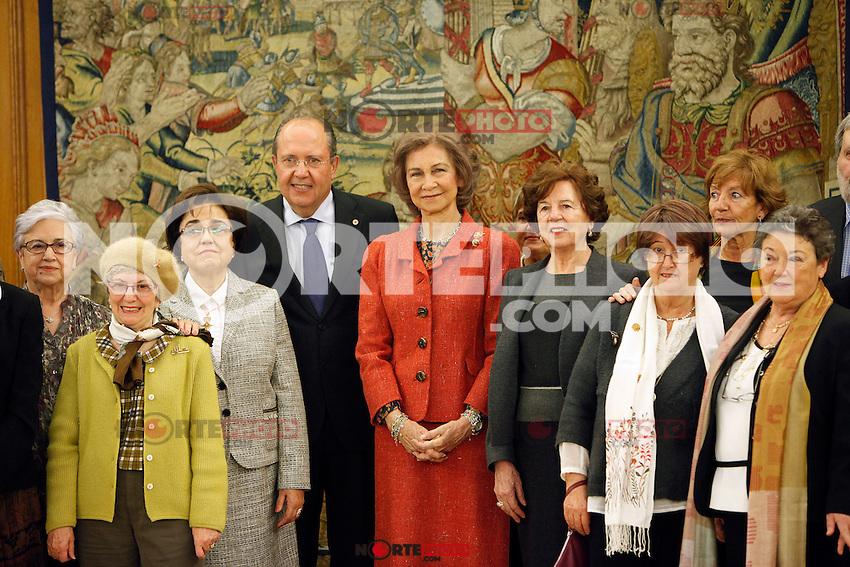Queen Sofia of Spain attend several audiences at Palacio de la Zarzuela in Madrid, Spain. January 17, 2013. (ALTERPHOTOS/Caro Marin) /NortePhoto