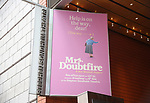 """Theatre Marquee for """"Mrs. Doubtfire"""" which features a book by Karey Kirkpatrick and John O'Farrell, music and lyrics by Wayne Kirkpatrick and Karey Kirkpatrick and directed by Jerry Zaks at the Stephen Sondheim Theatre on January 13, 2019 in New York City."""