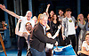 Sir Cameron Mackintosh's celebrates his 70th Birthday <br /> at the Noel Coward Theatre, London, Great Britain <br /> 17th October 2016 <br /> <br /> with the cast of Half a Sixpence <br /> <br /> singing him Flash, Bang, Wallop and Happy Birthday <br /> <br /> with a birthday cake in the shape of a banjo <br /> <br /> <br /> Photograph by Elliott Franks <br /> Image licensed to Elliott Franks Photography Services
