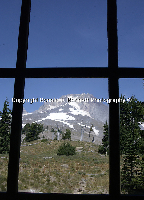 """Mount Hood through window at Timberline Lodge Oregon, Mt. Hood window Oregon, window, Pacific Ocean, Plains, woods, mountains, rain forest, desert, rain, Pacific Northwest, Fine art Photography and Stock Photography by Ronald T. Bennett Photography ©, FINE ART and STOCK PHOTOGRAPHY FOR SALE, CLICK ON  """"ADD TO CART"""" FOR PRICING,"""