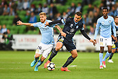 3rd November 2017, Melbourne Rectangular Stadium, Melbourne, Australia; A-League football, Melbourne City FC versus Sydney FC; Luke Brattan of Melbourne City FC and Bobo of Sydney FC compete for the ball