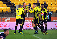 Wellington's Andrija Kaluderovic celebrates scoring the winner during the A-League football match between Wellington Phoenix and Melbourne Victory at Westpac Stadium in Wellington, New Zealand on Friday, 10 January 2018. Photo: Dave Lintott / lintottphoto.co.nz