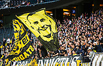Solna 2015-07-12 Fotboll Allsvenskan AIK - GIF Sundsvall :  <br /> AIK:s supportrar med flaggor under matchen mellan AIK och GIF Sundsvall <br /> (Foto: Kenta J&ouml;nsson) Nyckelord:  AIK Gnaget Friends Arena Allsvenskan GIF Sundsvall Giffarna supporter fans publik supporters
