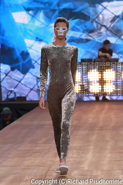 A model walks down  the runway at the Lafaille fashion show held during the Fashion and Design Festival in Montreal