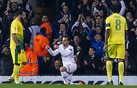 12.12.2013 London, England. Tottenham Hotspur forward Roberto Soldado (9) celebrates scoring his second goal during the Europa League game between Tottenham Hotspur and Anzhi Makhachkala from White Hart Lane.