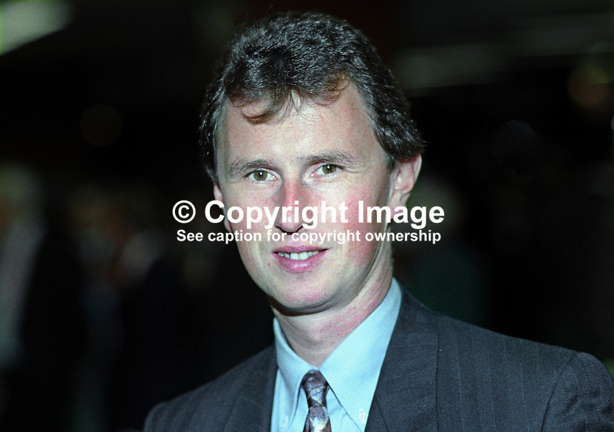 Nigel Evans, MP, Conservative Party, UK, taken annual conference October 1992. 19921053NE.<br /> <br /> Copyright Image from Victor Patterson,<br /> 54 Dorchester Park, Belfast, UK, BT9 6RJ<br /> <br /> t1: +44 28 90661296<br /> t2: +44 28 90022446<br /> m: +44 7802 353836<br /> <br /> e1: victorpatterson@me.com<br /> e2: victorpatterson@gmail.com<br /> <br /> For my Terms and Conditions of Use go to<br /> www.victorpatterson.com
