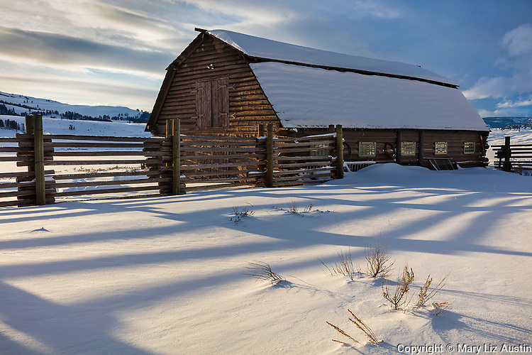 Yellowstone National Park, WY: Shadows of corral fence line in afternoon light with wood barn at the Lamar Buffalo Ranch in Lamar Valley.