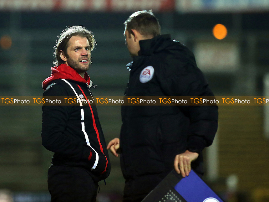 MK Dons Manager, Robbie Neilson, has a word with the 4th Official during Yeovil Town vs MK Dons, Checkatrade Trophy Football at Huish Park on 6th December 2016