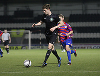 Patrick McNally passes before being tackled by Thomas Reilly in the St Mirren v Celtic Clydesdale Bank Scottish Premier League U20 match played at St Mirren Park, Paisley on 18.12.12.