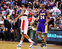 John Wall of the Wizards and Kobe Bryant of the Lakers have a nice moment  prior to tip-off against the Washington Wizards at the Verizon Center in Washington, D.C. on Wednesday, March 7, 2012. Alan P. Santos/DC Sports Box