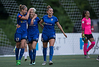 Seattle, WA - Saturday July 22, 2017: Beverly Yanez, Megan Rapinoe, Lindsay Elston, Kailen Sheridan during a regular season National Women's Soccer League (NWSL) match between the Seattle Reign FC and Sky Blue FC at Memorial Stadium.