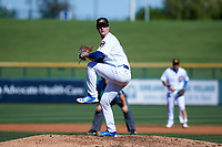 Mesa Solar Sox starting pitcher Alec Mills (24), of the Chicago Cubs organization, delivers a pitch to the plate during an Arizona Fall League game against the Glendale Desert Dogs on October 28, 2017 at Sloan Park in Mesa, Arizona. The Solar Sox defeated the Desert Dogs 9-6. (Zachary Lucy/Four Seam Images)