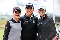 Munchin and Wenyung Keh with Lydia Ko.<br /> McKayson NZ Women's Golf Open, first Practice Round, Windross Farm Golf Course, Manukau, Auckland, New Zealand, Monday 25 September 2017.  Photo: Simon Watts/www.bwmedia.co.nz