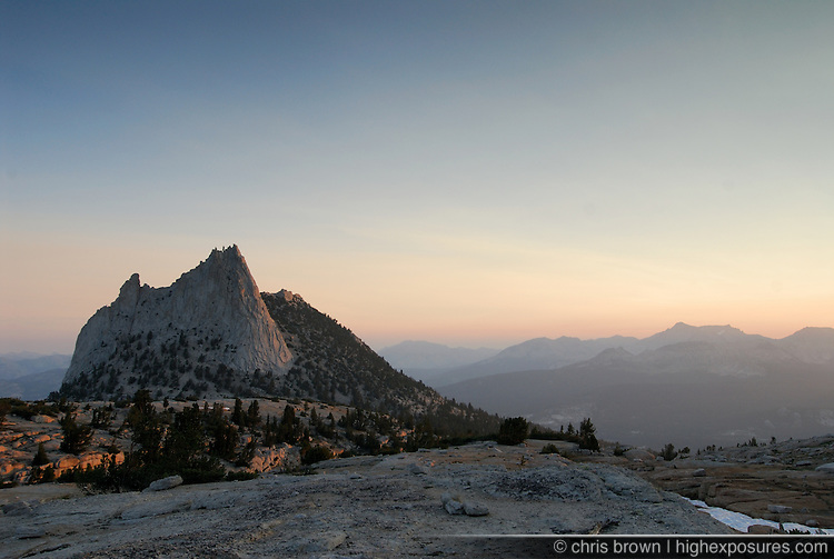 Sunrise lights up the flanks of Cathedral Peak in the Yosemite high country.