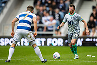 Blackburn Rovers' Corry Evans competing with Queens Park Rangers' Marc Pugh (left) <br /> <br /> Photographer Andrew Kearns/CameraSport<br /> <br /> The EFL Sky Bet Championship - Queens Park Rangers v Blackburn Rovers - Saturday 5th October 2019 - Loftus Road - London<br /> <br /> World Copyright © 2019 CameraSport. All rights reserved. 43 Linden Ave. Countesthorpe. Leicester. England. LE8 5PG - Tel: +44 (0) 116 277 4147 - admin@camerasport.com - www.camerasport.com