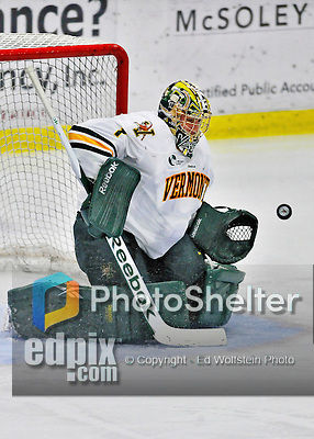 27 January 2012: University of Vermont Catamount goaltender John Vazzano, a Senior from Trumbull, CT, has his eye on the puck in the third period against the Northeastern University Huskies at Gutterson Fieldhouse in Burlington, Vermont. The Catamounts fell to the Huskies 8-3 in the first game of their 2-game Hockey East weekend series. Mandatory Credit: Ed Wolfstein Photo