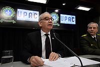 Montreal (Qc) CANADA - April 17 2012 File Photo - <br /> Robert Lafrenière, commissaire a la lutte contre la corruption (UPAC :Unite permanente anticorruption ) (L) <br /> , Inspecteur Denis Morin, Service des enquetes sur la corruption, SQ : Surete du Quebec (R) adress the media after a string of arrestations including of Tony Accurso - April 17, 2012.