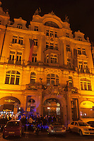 Prague comes alive at night in the main city square